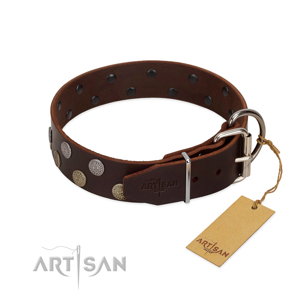 Durable traditional buckle on full grain natural leather dog collar for everyday use