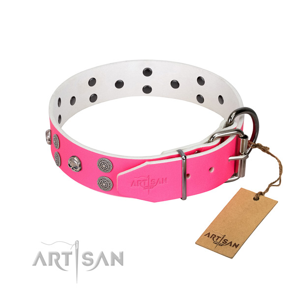 Soft natural leather dog collar with embellishments for comfortable wearing