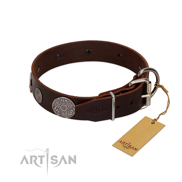 Adjustable genuine leather collar for your lovely canine