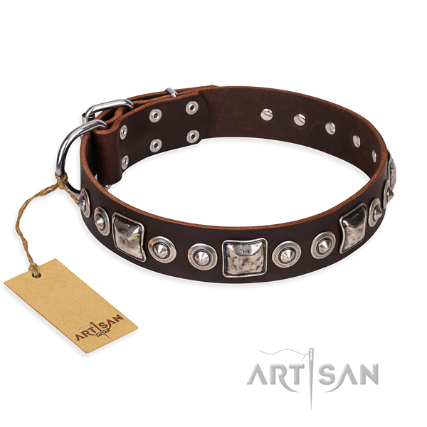 Full grain genuine leather dog collar made of reliable material with rust-proof buckle