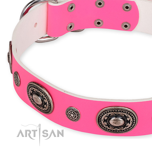 Durable full grain natural leather dog collar made for your attractive doggie