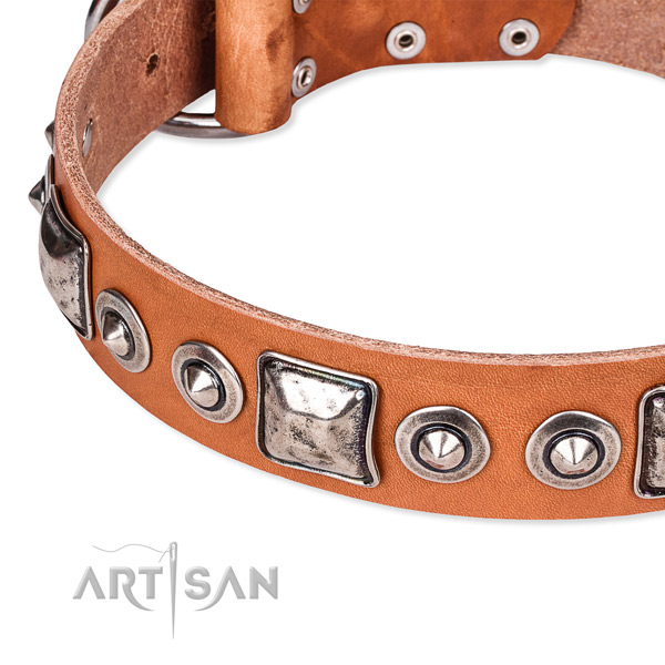 Flexible leather dog collar handmade for your lovely canine