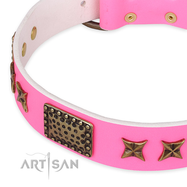 Genuine leather collar with durable traditional buckle for your lovely dog