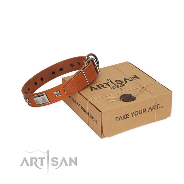 Flexible natural leather dog collar with rust resistant hardware