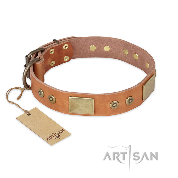 Inimitable full grain leather dog collar for daily walking