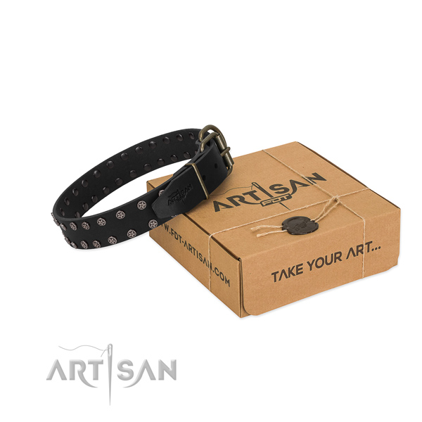 Soft to touch natural leather dog collar with adornments for your stylish canine