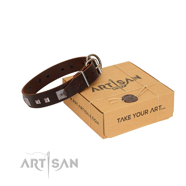Amazing full grain natural leather collar with adornments for your canine
