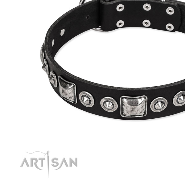 Full grain natural leather dog collar made of flexible material with adornments