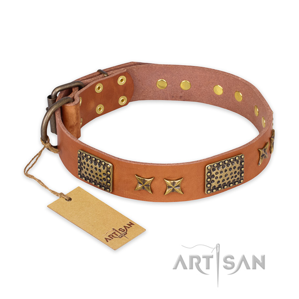 Exquisite full grain natural leather dog collar with strong traditional buckle
