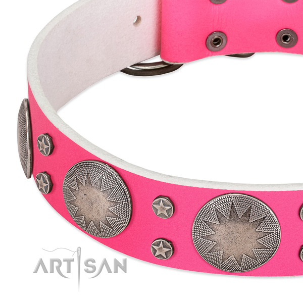 Strong full grain leather dog collar for your beautiful dog