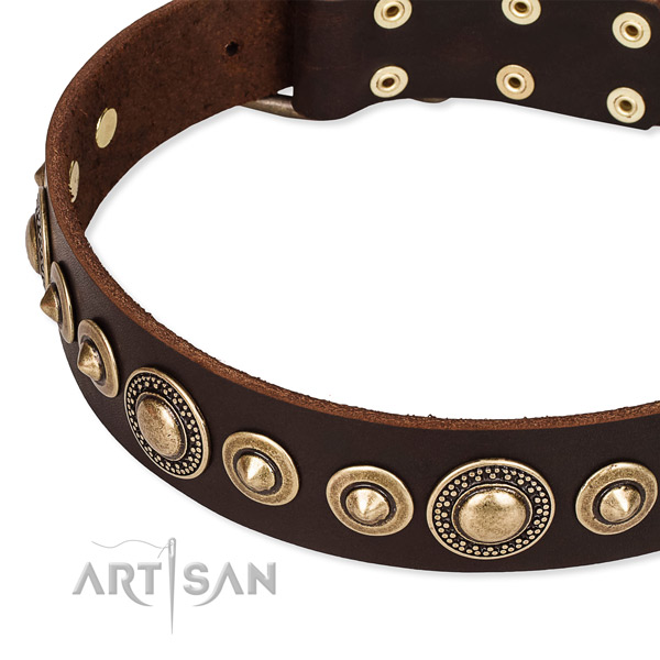 Flexible full grain natural leather dog collar made for your beautiful four-legged friend