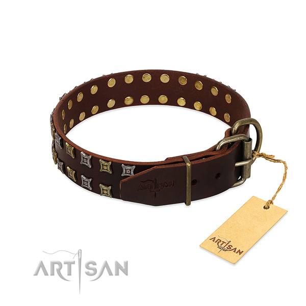 Reliable full grain natural leather dog collar made for your canine