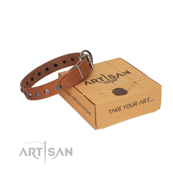 Full grain leather dog collar of best quality material with stunning decorations