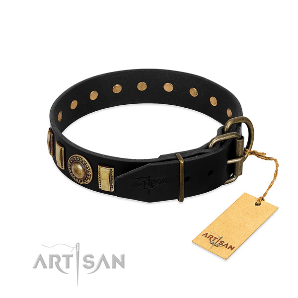 Soft to touch genuine leather dog collar with studs