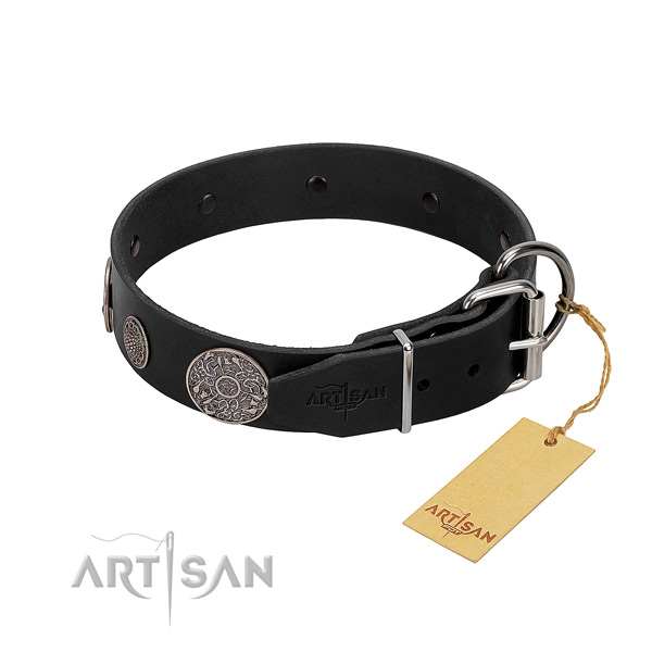 Strong hardware on genuine leather dog collar