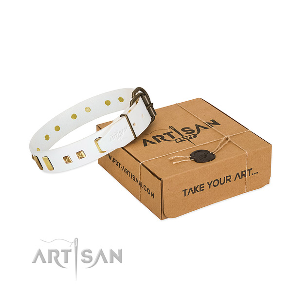 Flexible natural leather dog collar with decorations for easy wearing