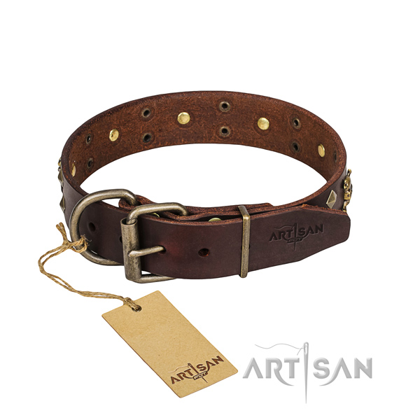 Everyday use dog collar of durable full grain natural leather with decorations
