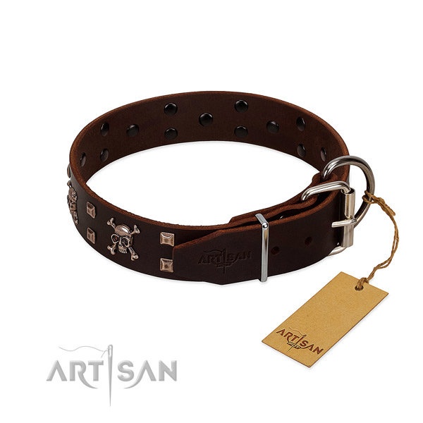 Everyday walking soft to touch full grain natural leather dog collar with studs