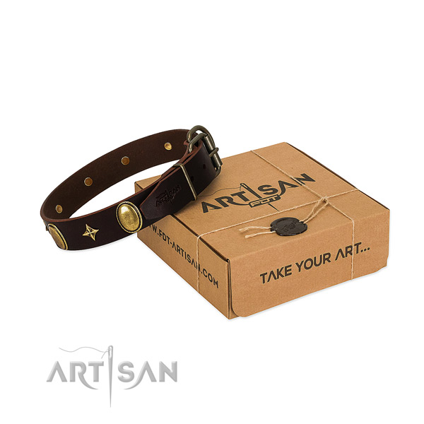 Top notch full grain natural leather dog collar with exquisite decorations