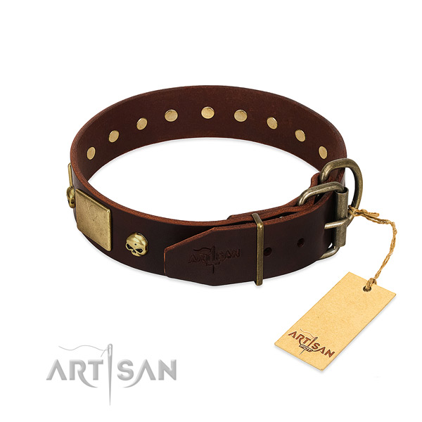 Flexible genuine leather dog collar with corrosion resistant decorations
