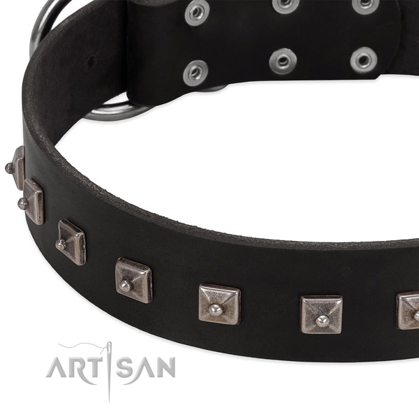 High quality full grain natural leather collar with decorations for your dog