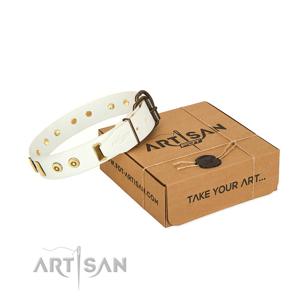 Leather dog collar with designer embellishments for comfortable wearing