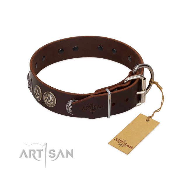 Rust resistant D-ring on embellished full grain natural leather dog collar