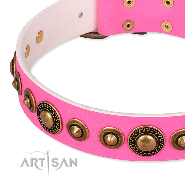 Soft to touch full grain genuine leather dog collar created for your impressive pet