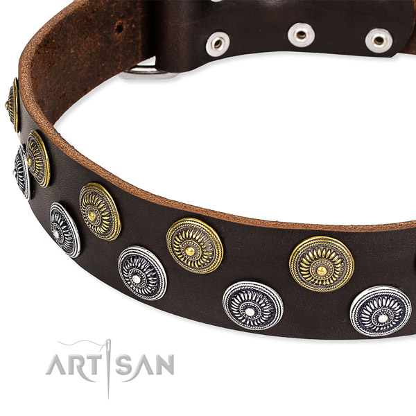 Comfortable wearing embellished dog collar of high quality genuine leather