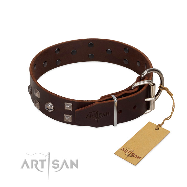 Adjustable genuine leather dog collar with rust-proof D-ring