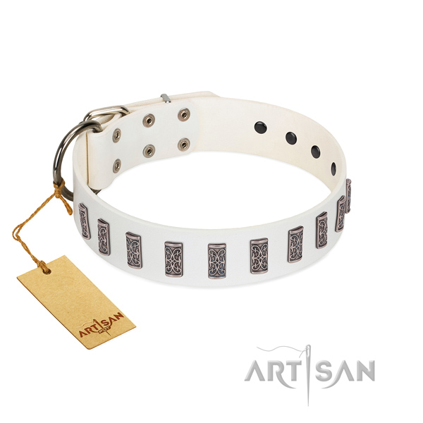 Comfortable wearing soft leather dog collar with decorations