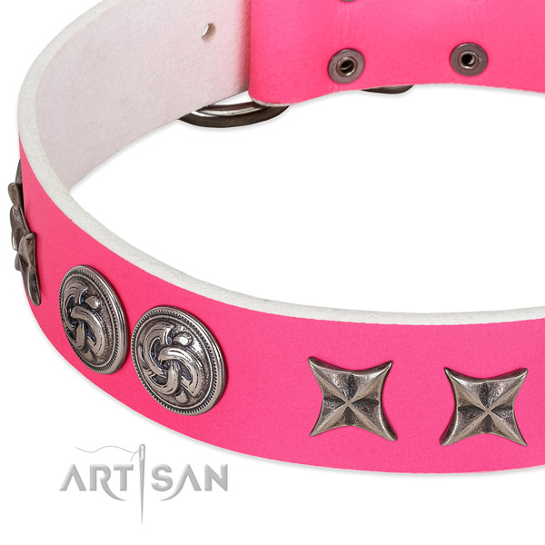 Natural leather collar with exquisite decorations for your dog
