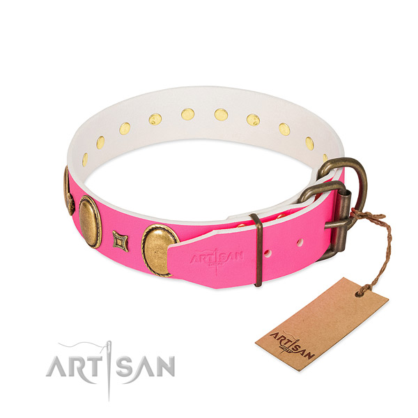 Gentle to touch full grain genuine leather collar made for your pet