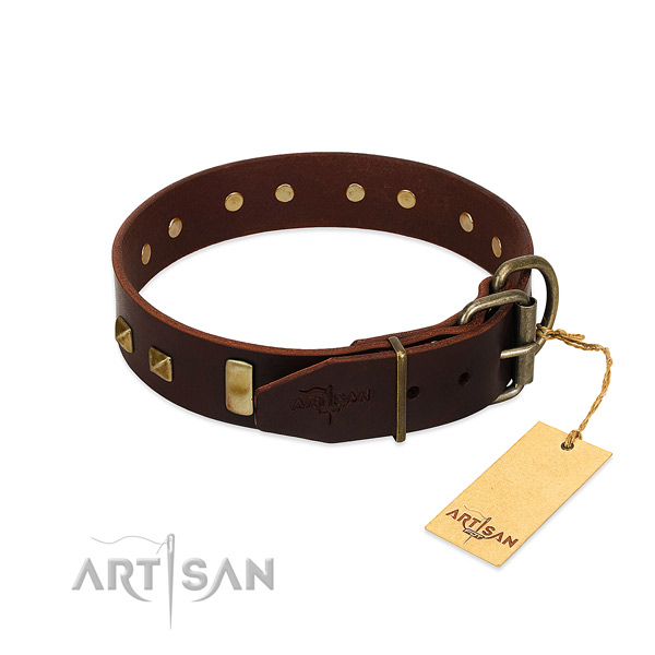 Soft to touch full grain leather dog collar with strong traditional buckle