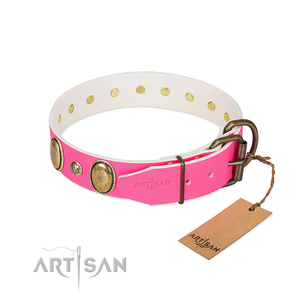 Walking flexible natural genuine leather dog collar