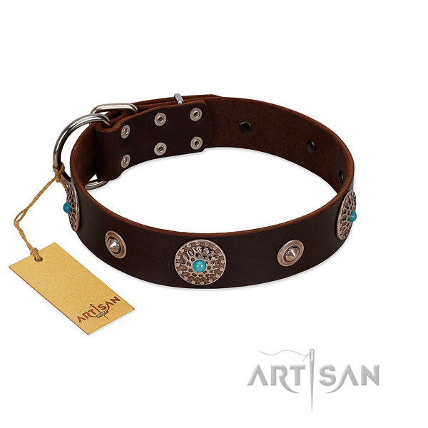 Gentle to touch full grain genuine leather dog collar made for your pet