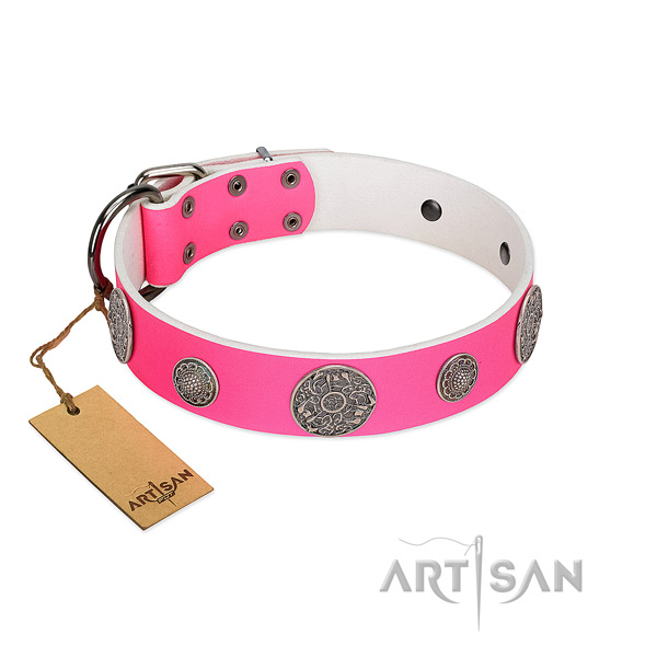 Extraordinary embellished full grain genuine leather dog collar