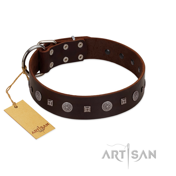 Easy to adjust collar of leather for your beautiful canine