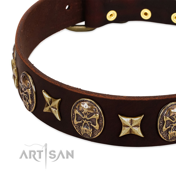 Durable hardware on leather dog collar for your four-legged friend