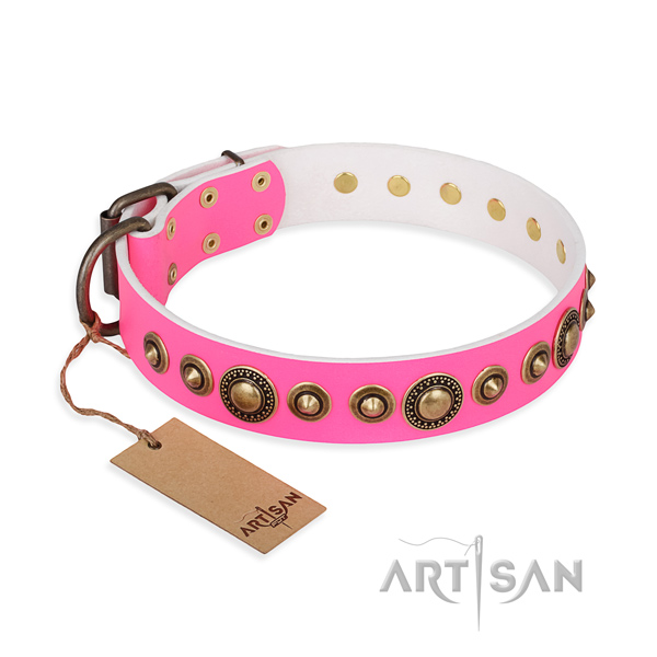 Top notch genuine leather collar crafted for your four-legged friend