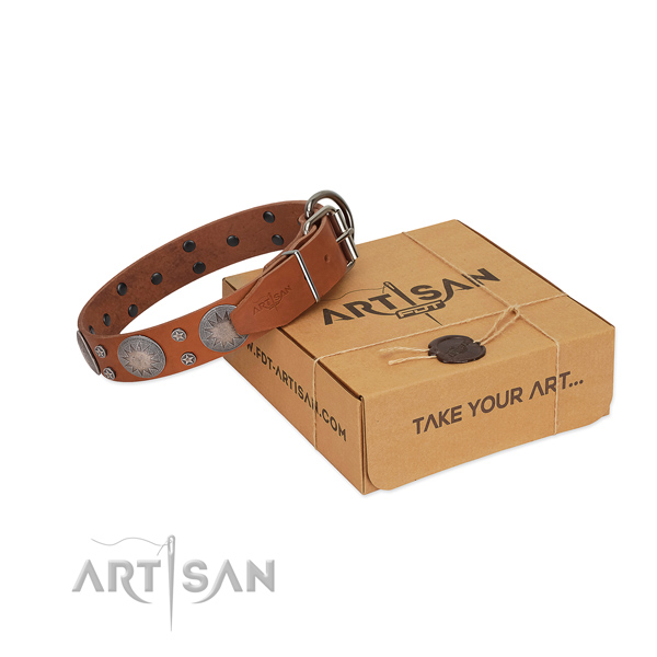 Top notch embellishments on natural leather collar for easy wearing your doggie