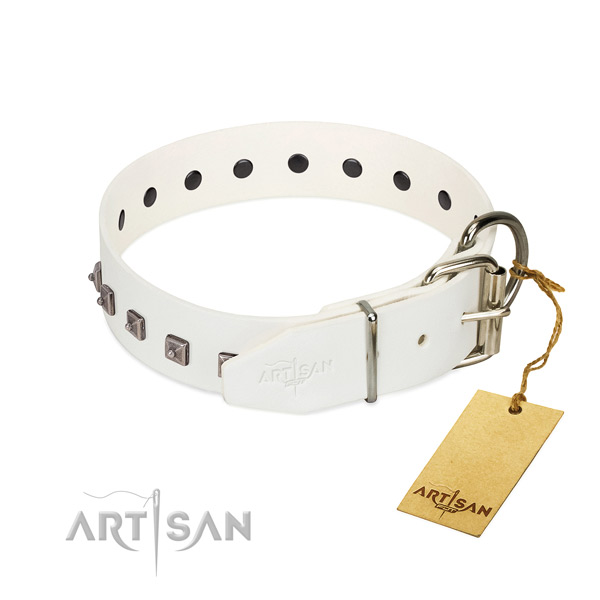Reliable natural leather dog collar with adornments for easy wearing