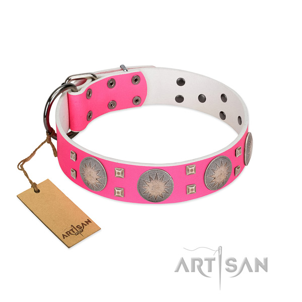 Decorated genuine leather dog collar with corrosion proof buckle