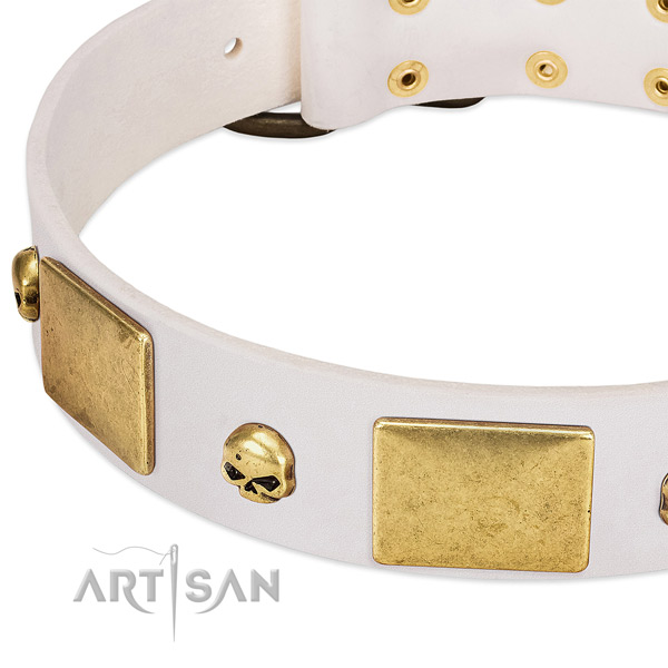 Durable natural leather collar handcrafted for your dog