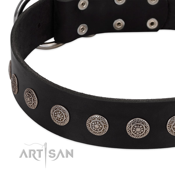 Awesome dog collar of genuine leather with decorations