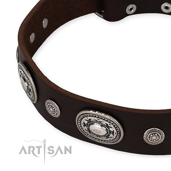 Top rate full grain genuine leather dog collar made for your beautiful pet