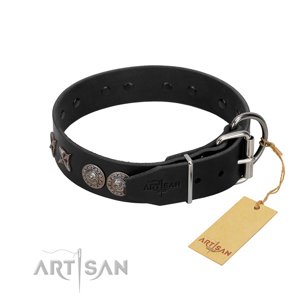 Basic training dog collar of genuine leather with stunning decorations