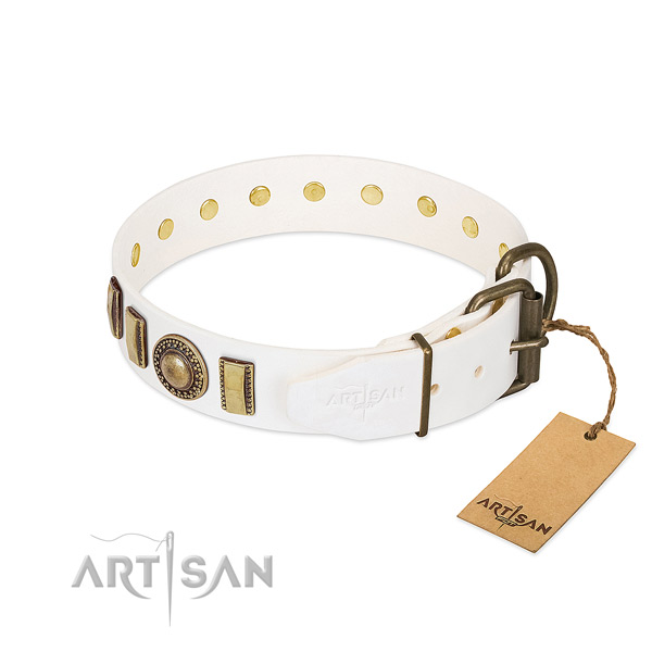 Gentle to touch genuine leather dog collar crafted for your pet