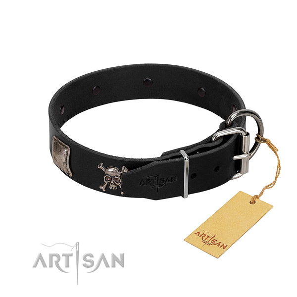 Convenient natural genuine leather collar for your beautiful canine