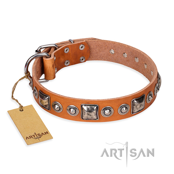 Natural genuine leather dog collar made of gentle to touch material with corrosion proof fittings